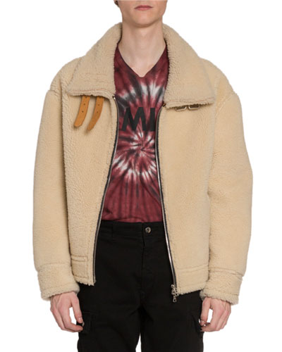 Men's Oversized Shearling Jacket w/ Leather Straps