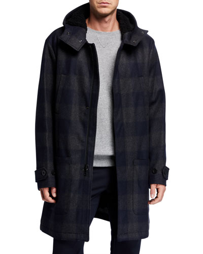 Men's Hooded Plaid Duffle Coat