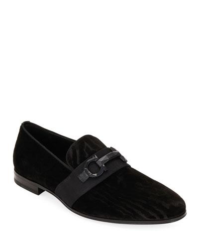 Men's Schwartz Velvet Wood-Pattern Gancini Loafers