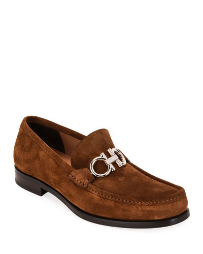 Men's Rolo Suede Gancini-Bit Loafers
