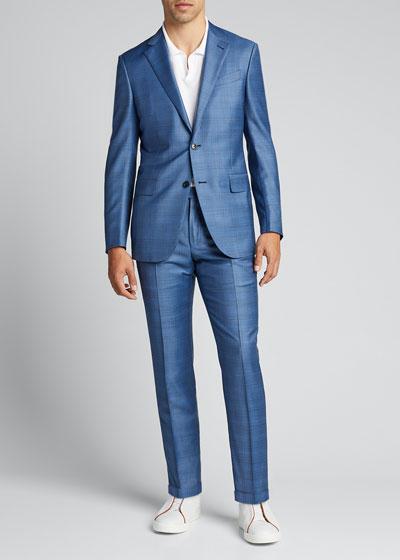 Men's Plaid Two-Piece Wool Suit