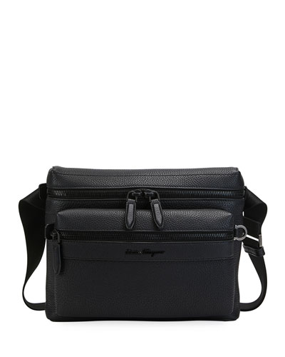 Men's Tonal Leather Crossbody Bag