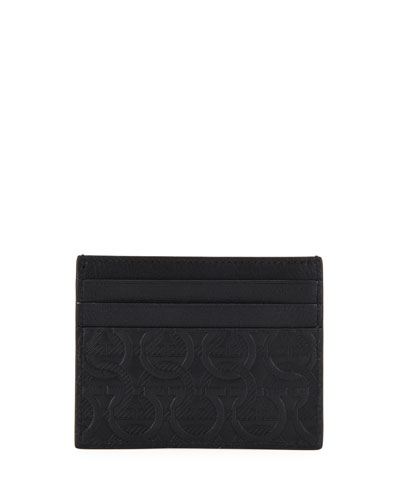 Men's Gancini-Print Leather Card Case