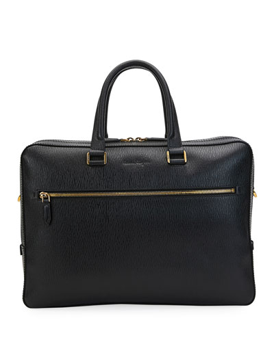 Men's Textured Leather Portfolio Briefcase