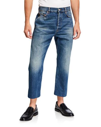 Men's Medium-Wash Jeans with Trouser Hem