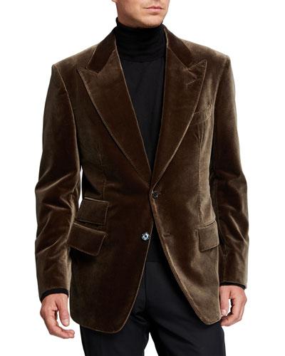 Men's Windsor Peak-Lapel Velvet Jacket