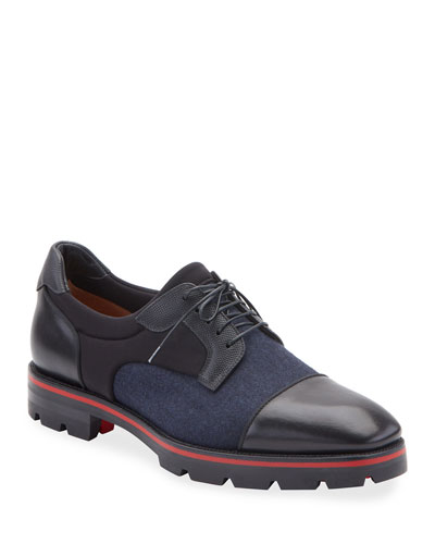 Men's Mika Sky Fabric/Leather Lug-Sole Derby Shoes