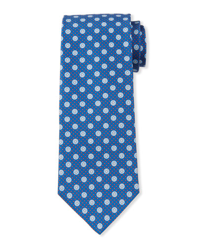 Lollo Anchor-Print Tie, Blue