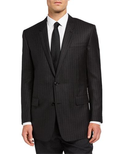 Men's Pinstripe Two-Button Jacket