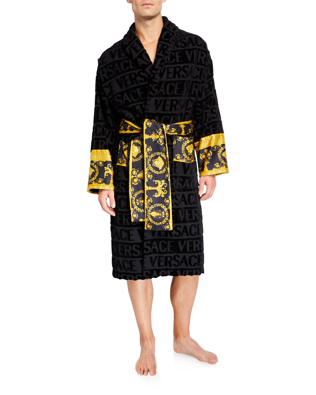 best quality for kid shop for Men's Barocco Logo Bath Robe
