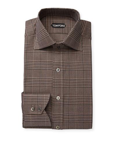 Men's Plaid Cotton Dress Shirt