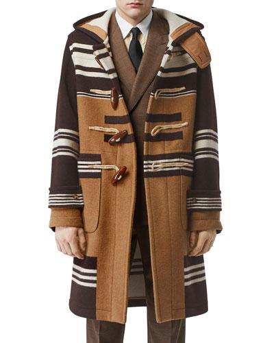 Men's Icon Stripe Wool Toggle Topcoat