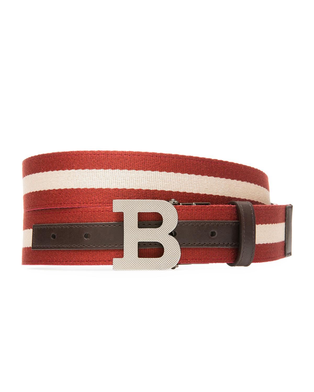 Bally Belts MEN'S B-BUCKLE WEBBING BELT