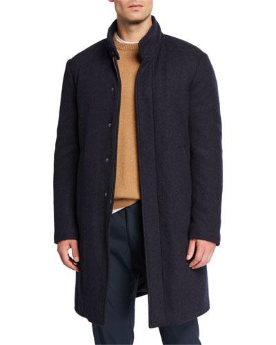 Men's New York Solid Hidden-Button Topcoat