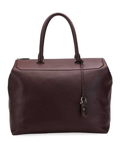 Men's Tornabuoni Grained Leather Tote Bag
