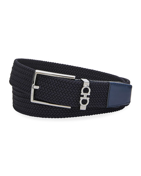 Men's Gancini Woven Stretch Belt