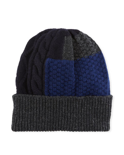 Men's Patchwork Cable-Knit Beanie Hat