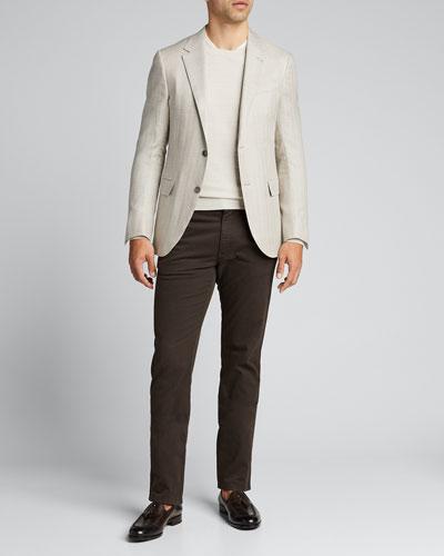 Men's Textured-Stripe Performance Wool Sweater