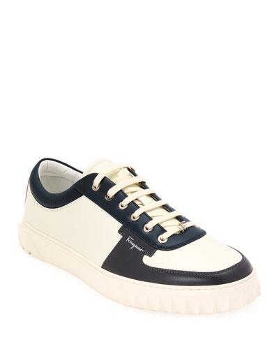 Men's Scuby Multicolor-Trim Leather Sneakers