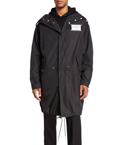 Men's Taffeta Hooded Parka with Chest Label