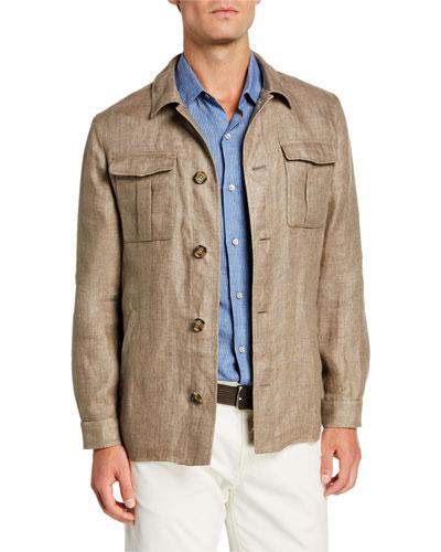 Men's Solid Linen Shirt Jacket