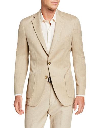 Men's Tonal Chevron Two-Button Jacket