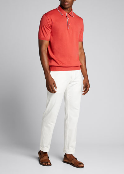 Men's Contrast-Tipped Pocket Polo Shirt