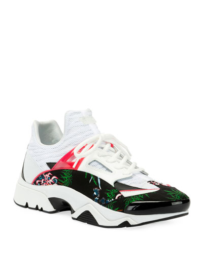Men's Sonic Floral Mesh/Suede Caged Sneakers