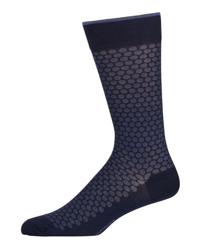 Men's Pima Cotton Jacquard Dot-Pattern Socks