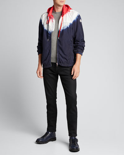 Men's Ombre Zip-Front Hooded Jacket