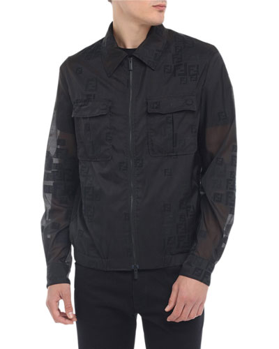 Men's Faded-FF Sheer Bomber Jacket
