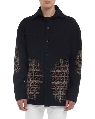 Men's Blurred-FF Cotton-Wool Shirt Jacket