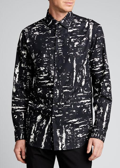 Men's Abstract Paint-Print Sport Shirt