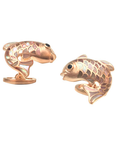 Mother-of-Pearl Fish Cuff Links  Taupe