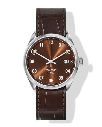 N.002 40mm Round Alligator Leather Watch