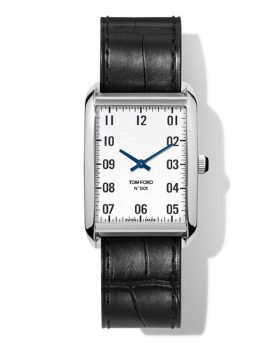 N.001 44mm x 30mm Rectangular Alligator Leather Watch