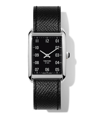 N.001 44mm x 30mm Rectangular Pebbled Leather Watch