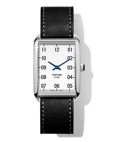 N.001 44mm x 30mm Rectangular Leather Watch