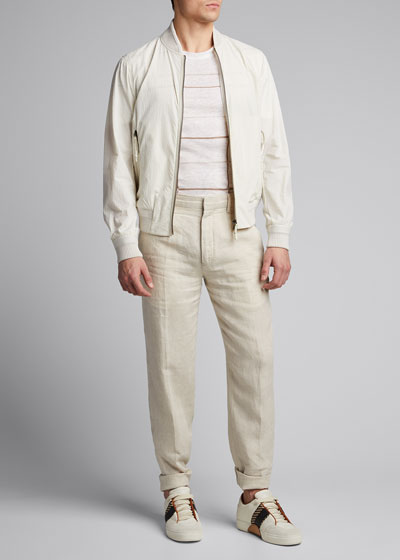 Men's Patterned Regular-Fit Linen T-Shirt