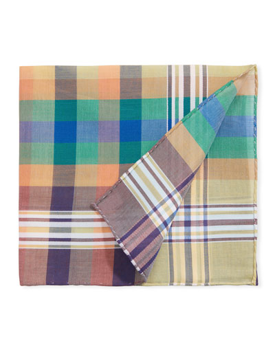 Men's Madras Multicolor Check Pocket Square