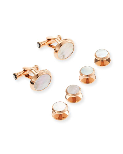 Men's Rose Gold Mother-of-Pearl Stud & Cufflink Set
