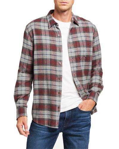 Men's Classic Brushed Plaid Sport Shirt