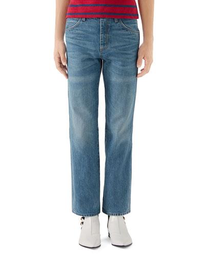 Men's Marble-Wash Retro-Fit Jeans