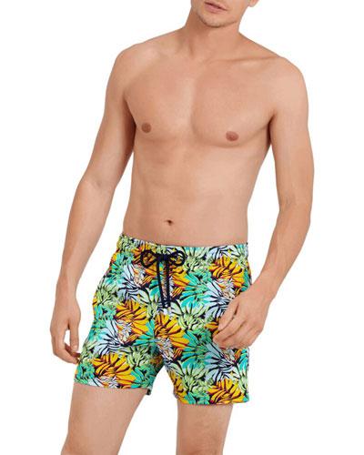 Men's Superflex Jungle-Print Swim Trunks