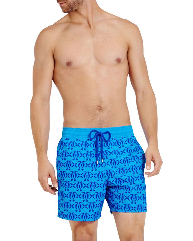 Vilebrequin Pants Men's Flocked Seahorses-Print Swim Trunks