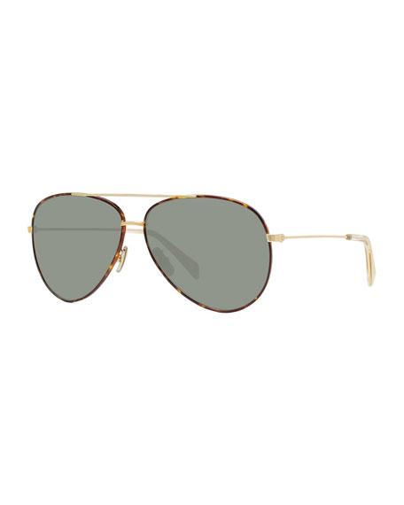 Men's Metal Havana Aviator Sunglasses