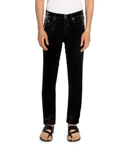 Men's 5-Pocket Velvet Skinny Pants