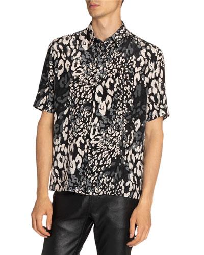 Men's Leopard-Print Silk Sport Shirt