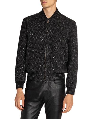 Men's Teddy Tweed Bomber Jacket