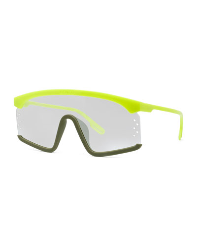 Men's Two-Tone Acetate Shield Sunglasses